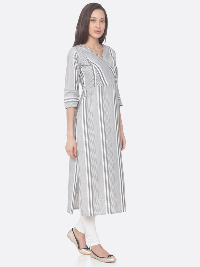Grey Printed Viscose Rayon Straight Kurti