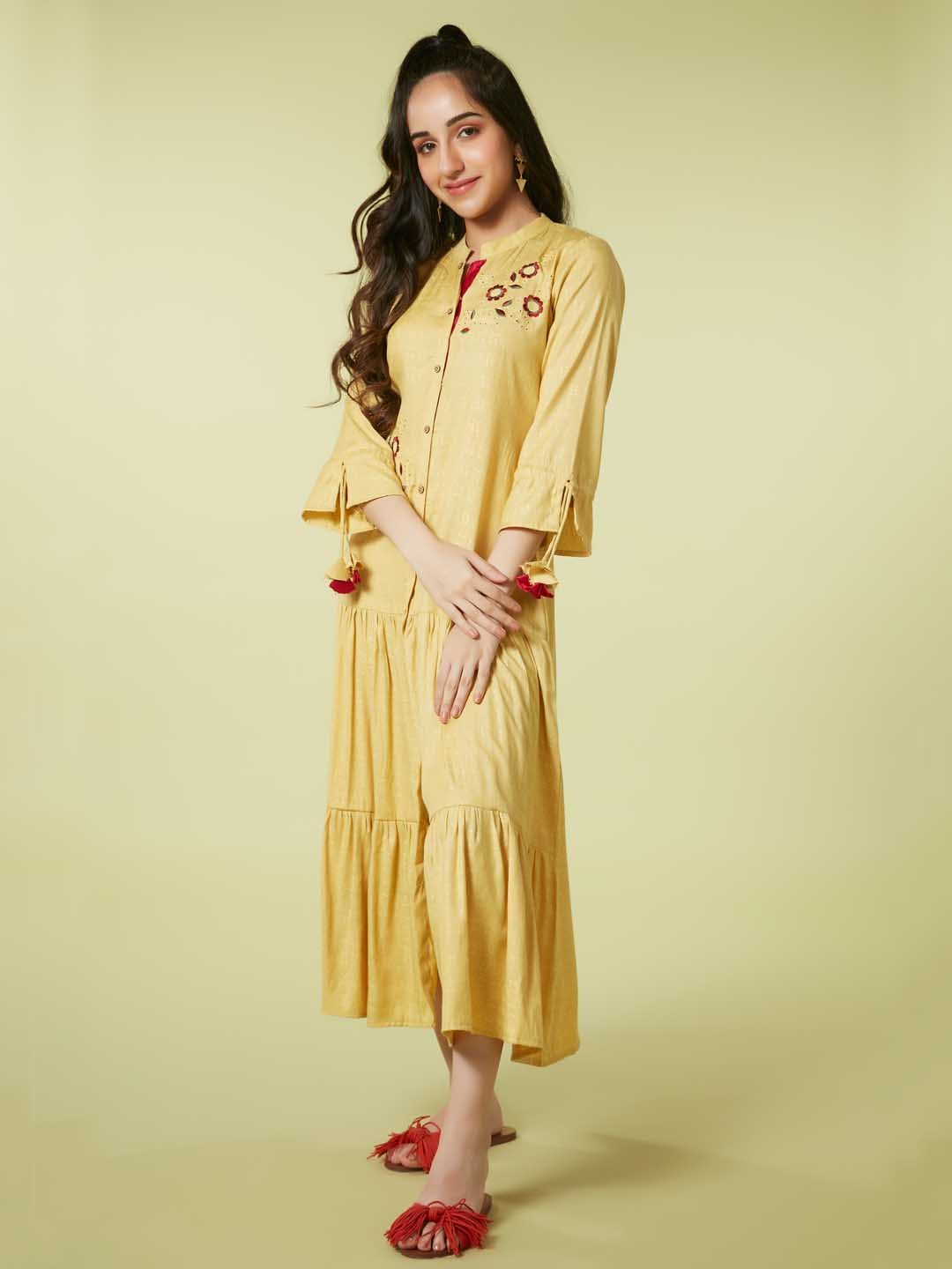 Front Side Mustard Weaved Fabric With Embroidery Viscose Rayon A Line Dress