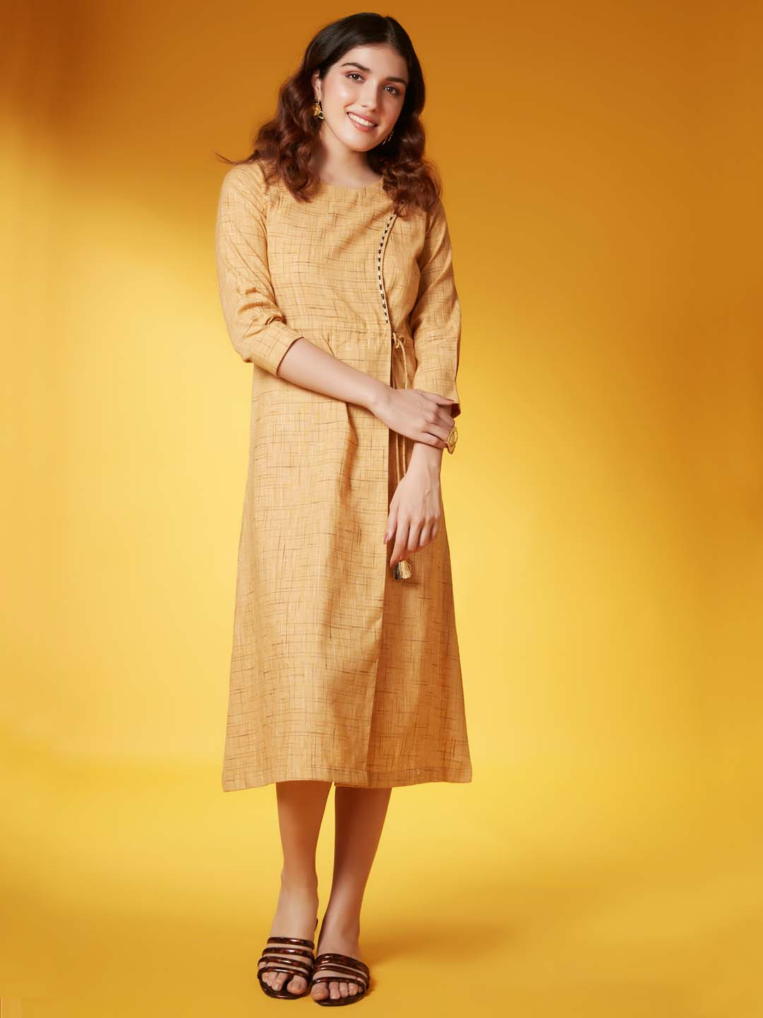 Front Side Mustard Weaved Fabric With Embroidery Viscose Cotton A Line Dress