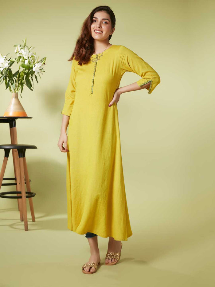 Front Side Yellow Embroidery At Neck Placket And Sleeve Viscose Cotton A Line Dress