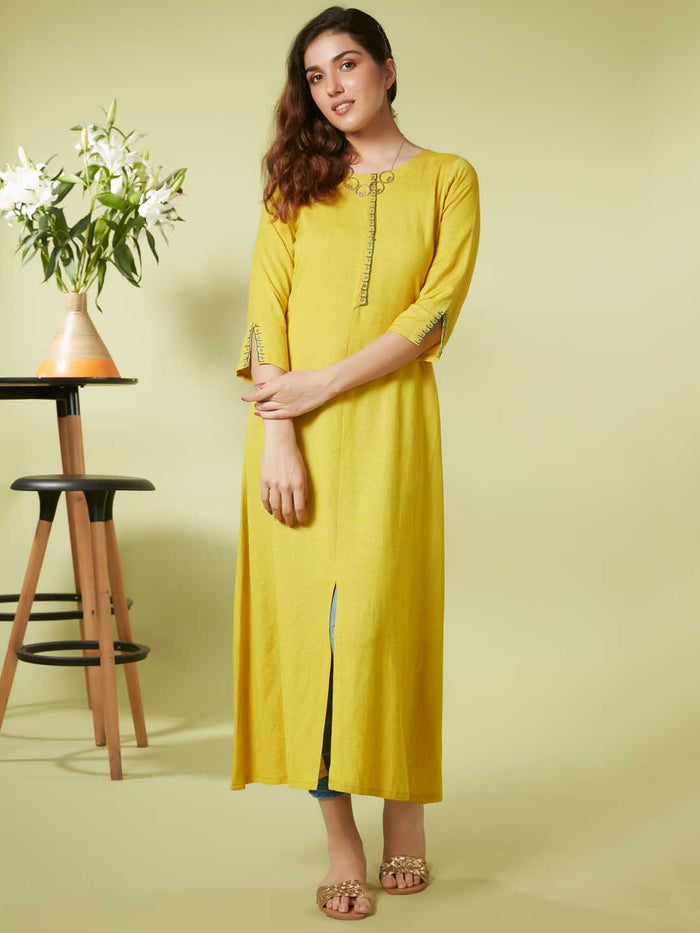 Yellow Embroidery At Neck Placket And Sleeve Viscose Cotton A Line Dress