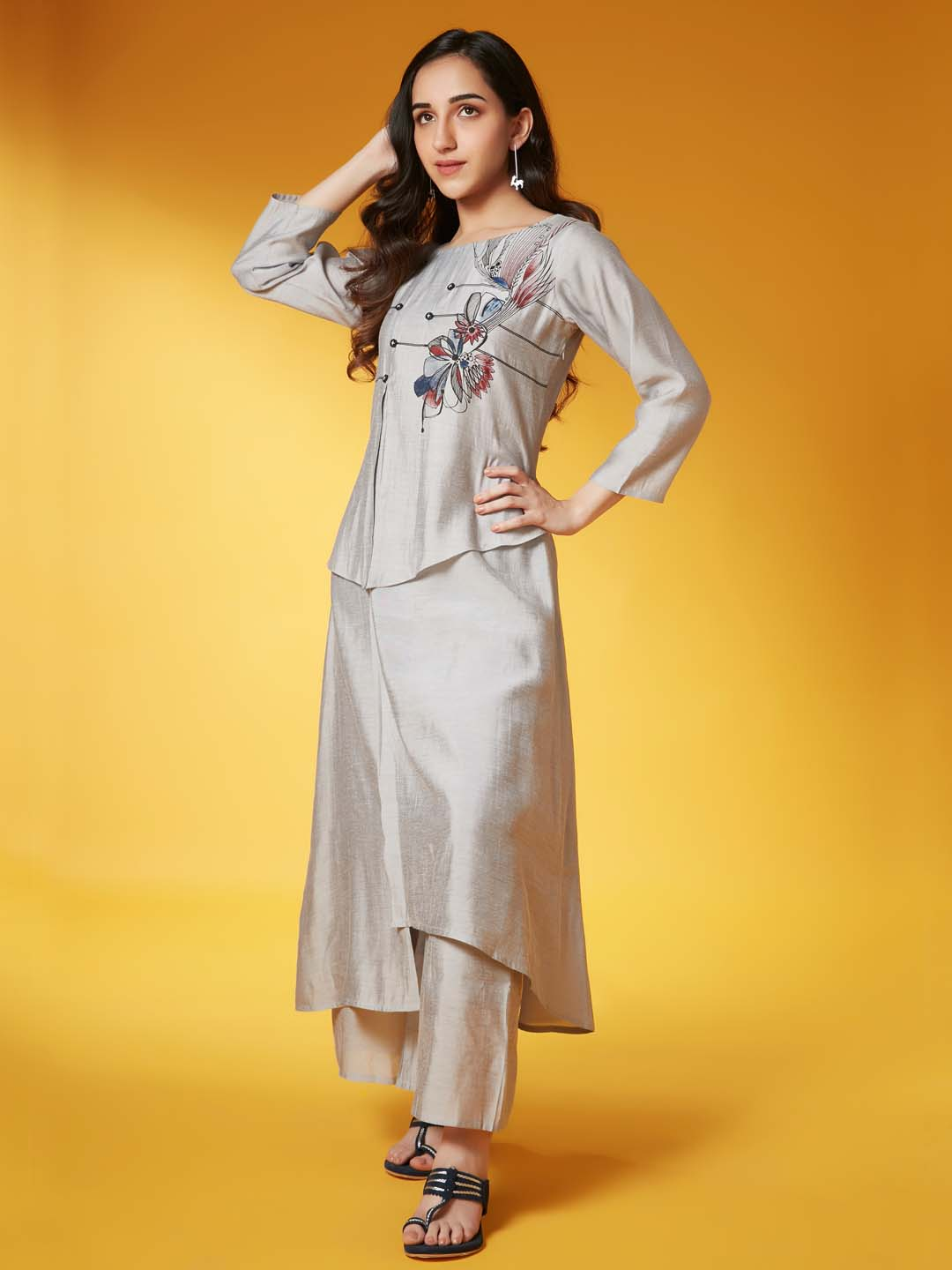 Left Side grey placement print chanderi a-line kurta set