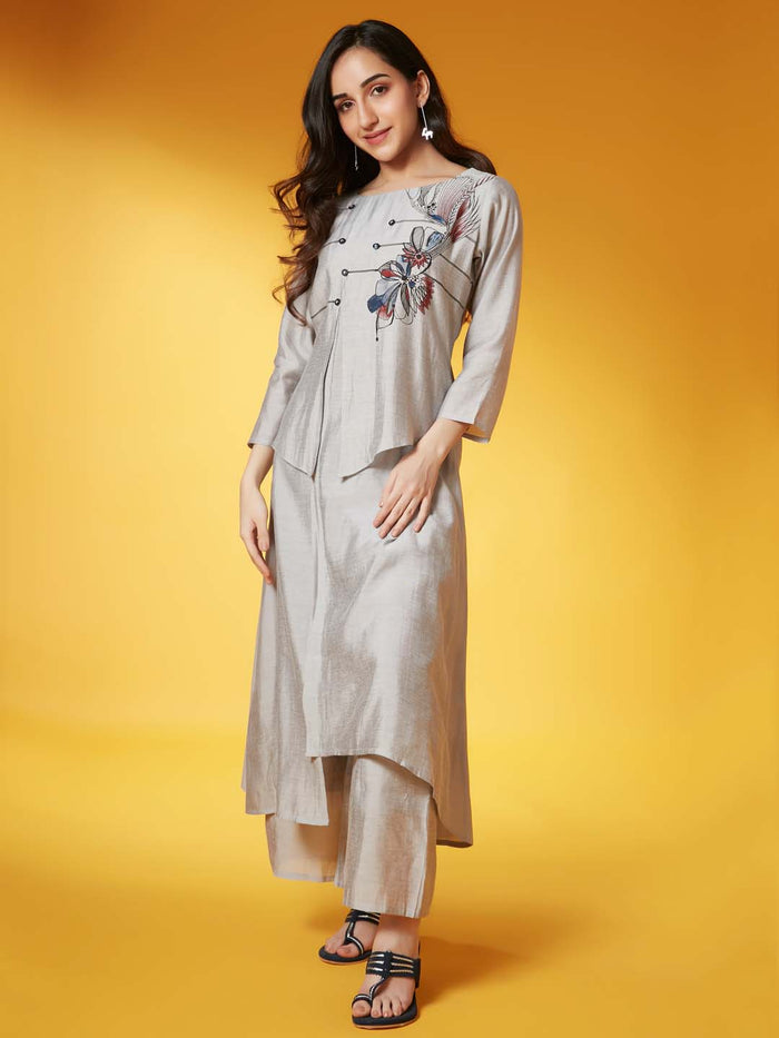 Front Side Grey Placement Print Chanderi A-Line Kurta Set