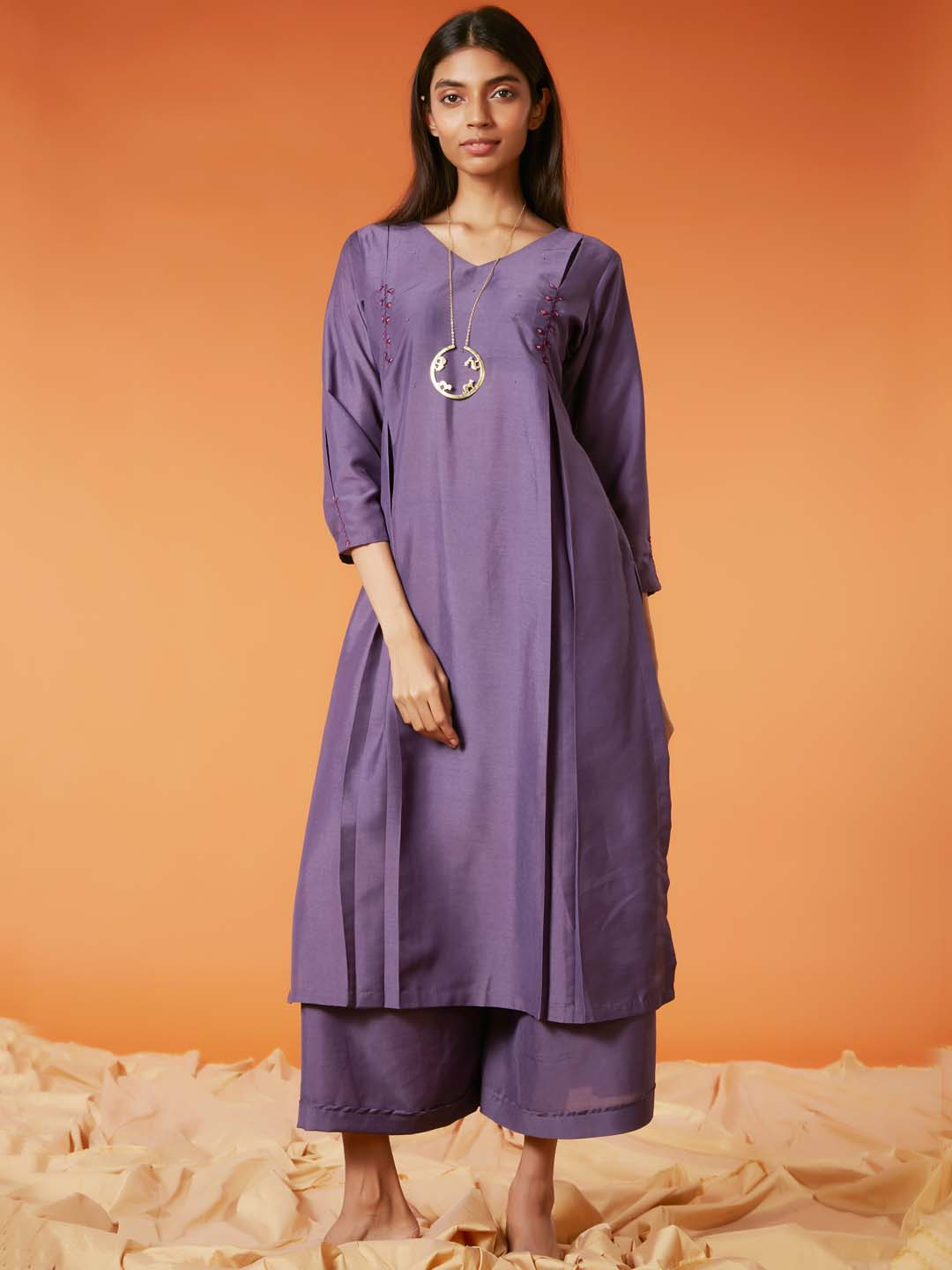 Front Side Voilet Embroidery Muslin Straight Kurta Set