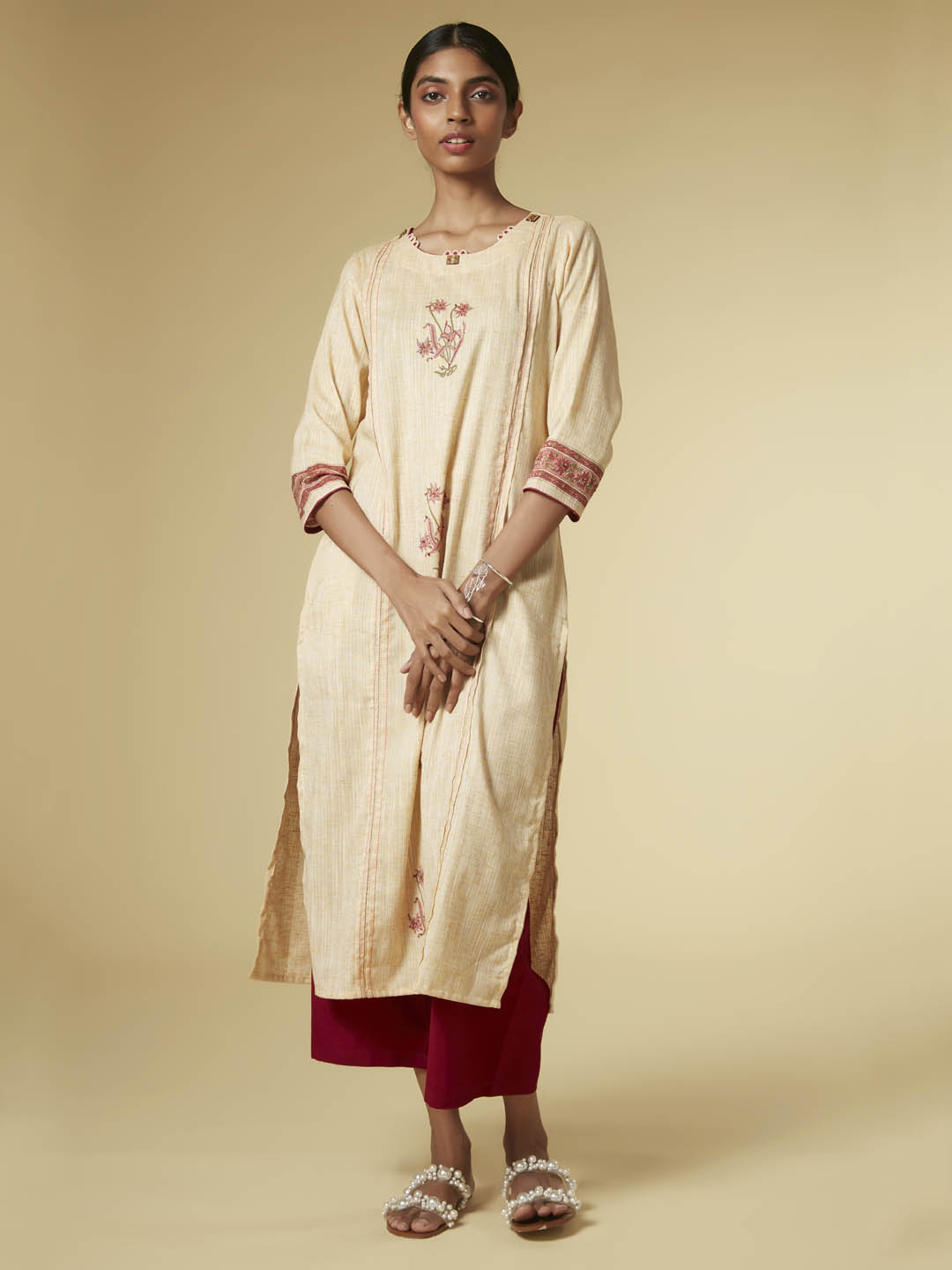 Front Side Light Yellow Print & Embelishment Viscose Cotton Straight Kurta Set