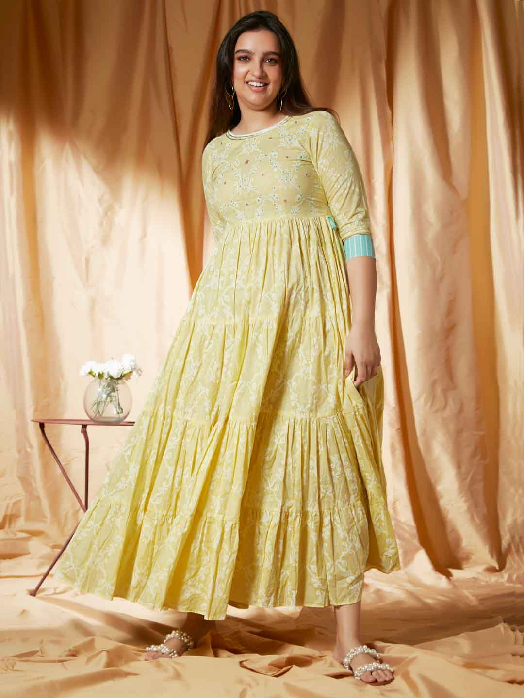 Front Side Lemon Yellow Print & Handwork Viscose Cotton Flaired Dress
