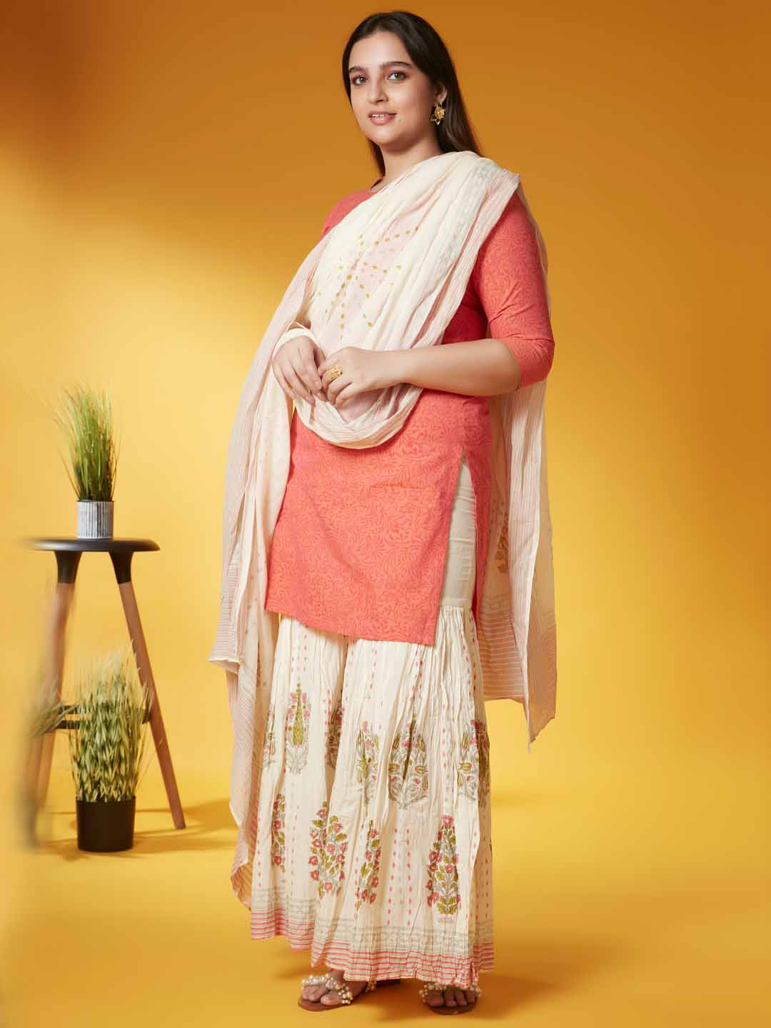 Left Side Orange Printed Viscose Cotton Kurta Set Dupatta