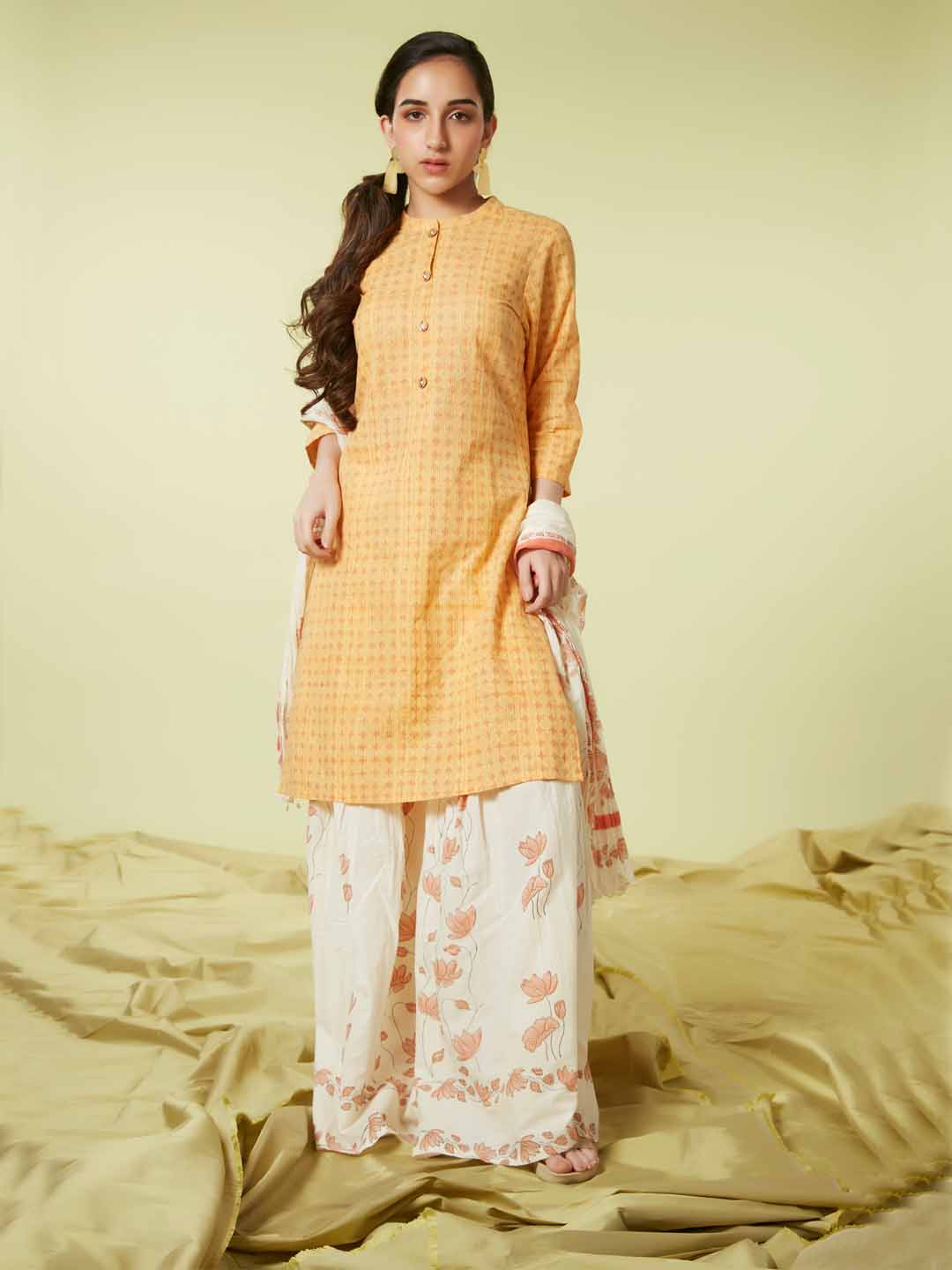 Front Side Mustard Printed Viscose Cotton Kurta Set Dupatta