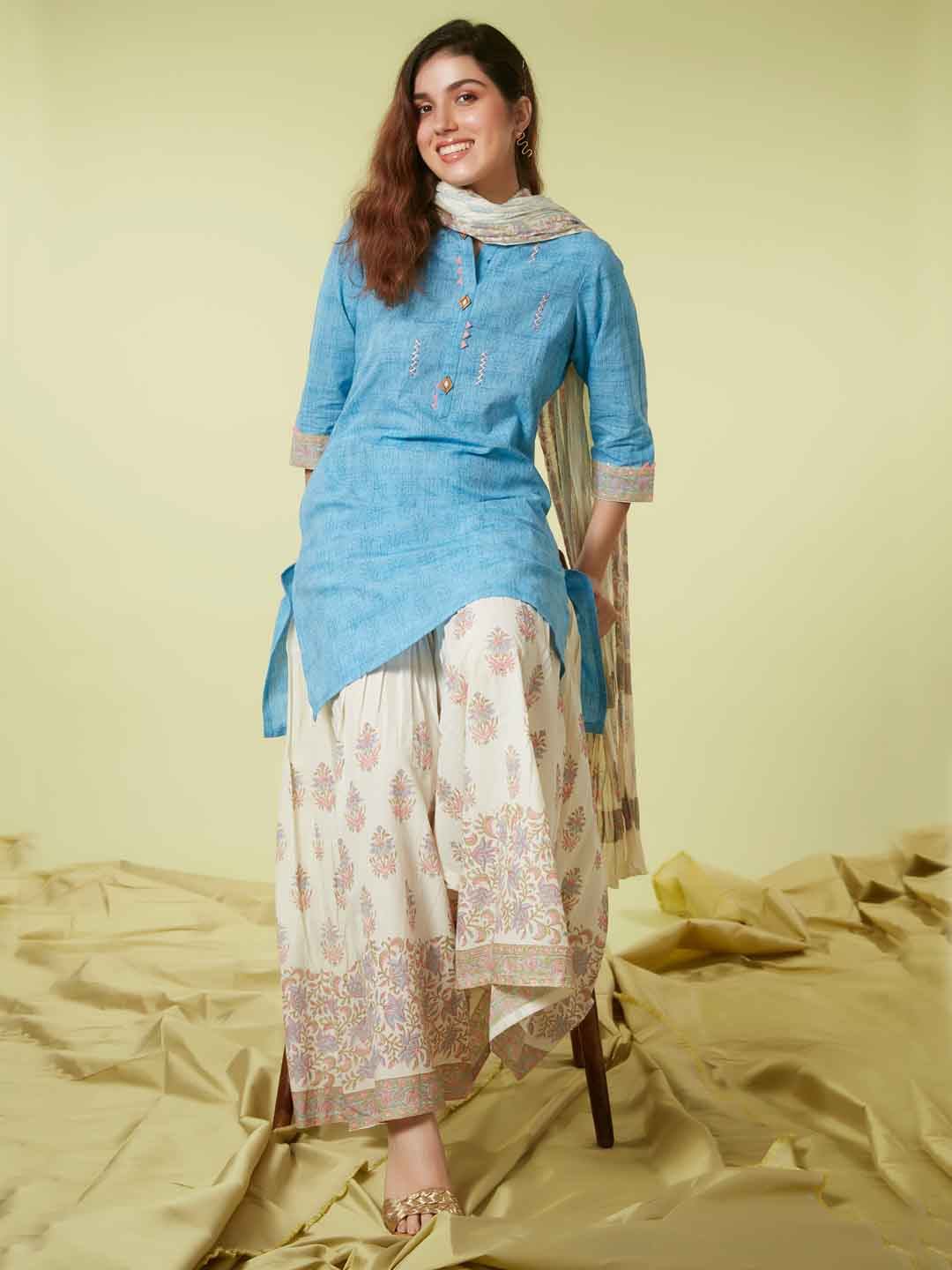 Front Side Sky Blue Printed Viscose Cotton Kurta Set Dupatta
