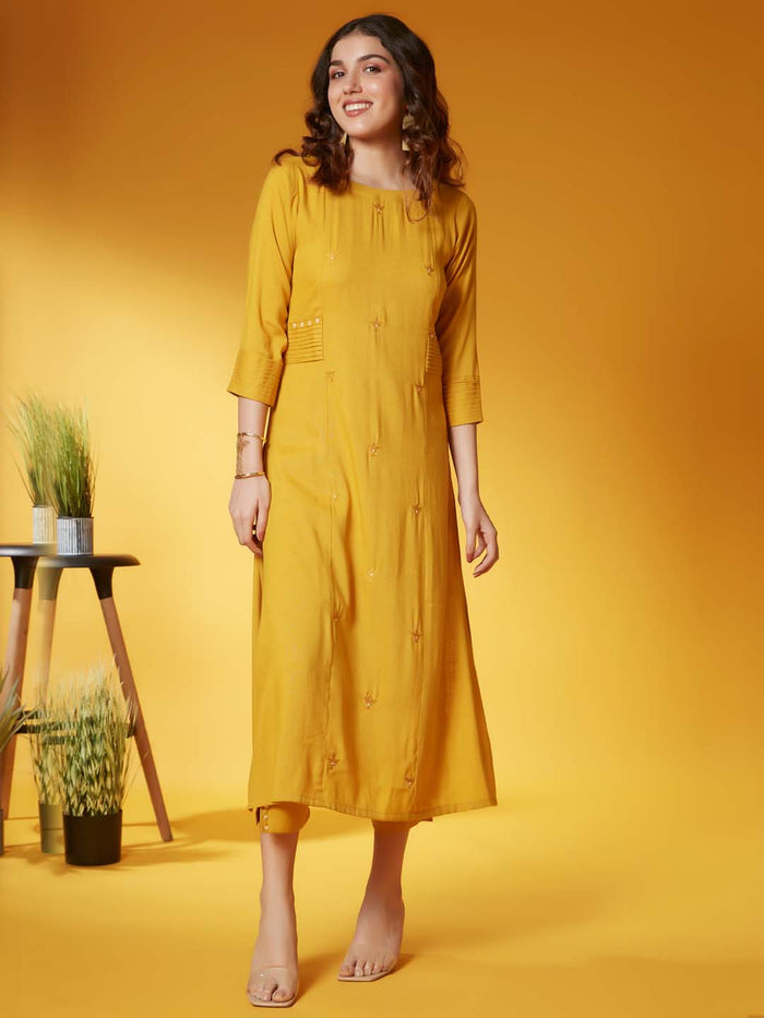 Front Side Yellow Embroidery Viscose Rayon Kurta Set