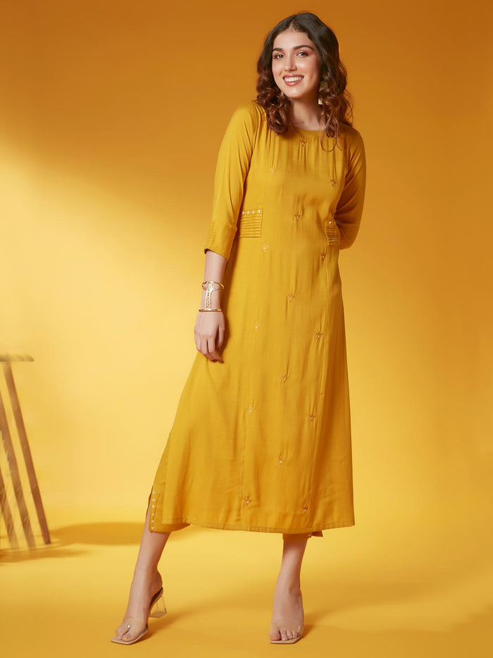 Party Wear Yellow Embroidery Viscose Rayon Kurta Set