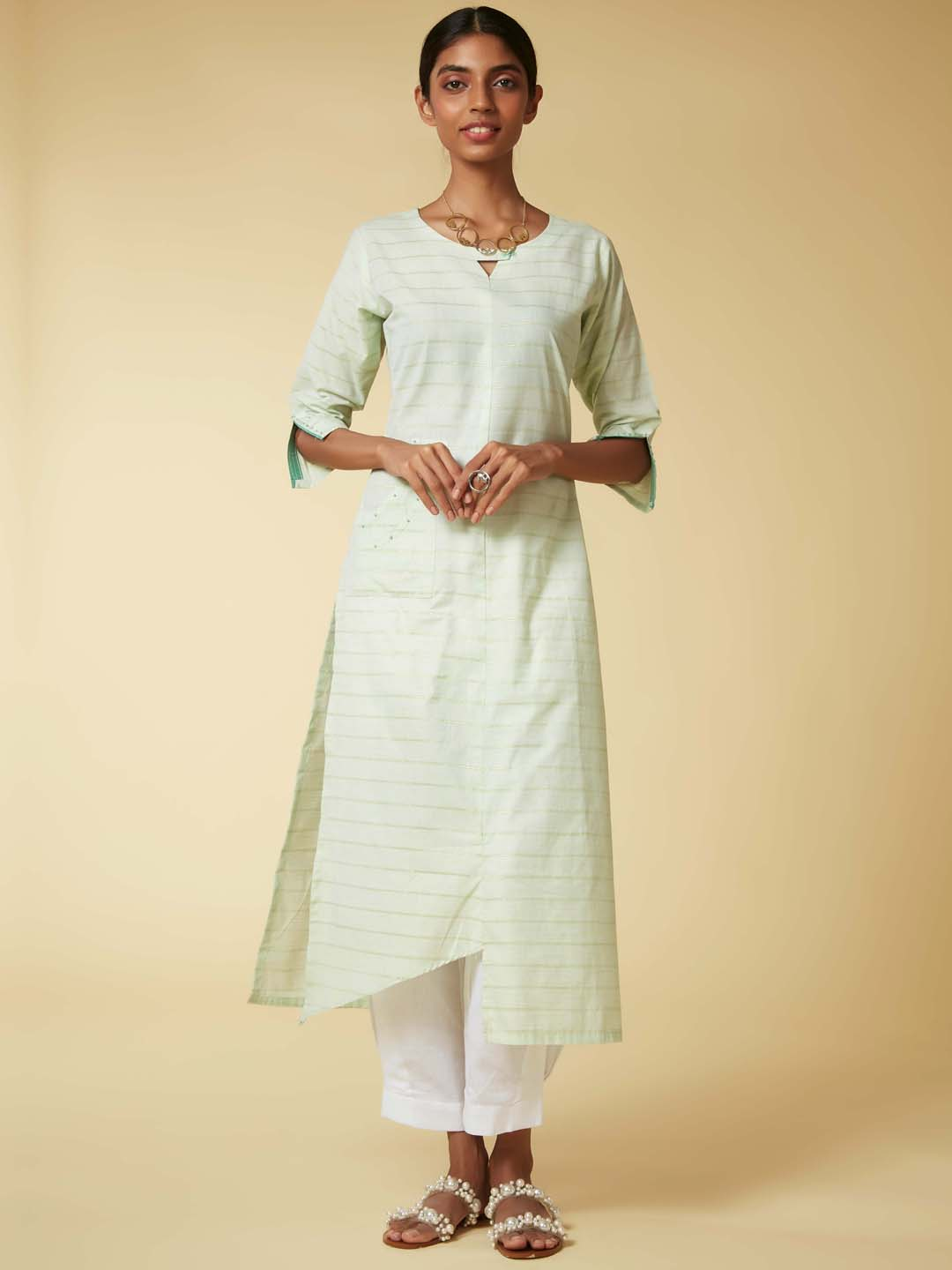 Light Green Embroidered Viscose Cotton  Kurta Set