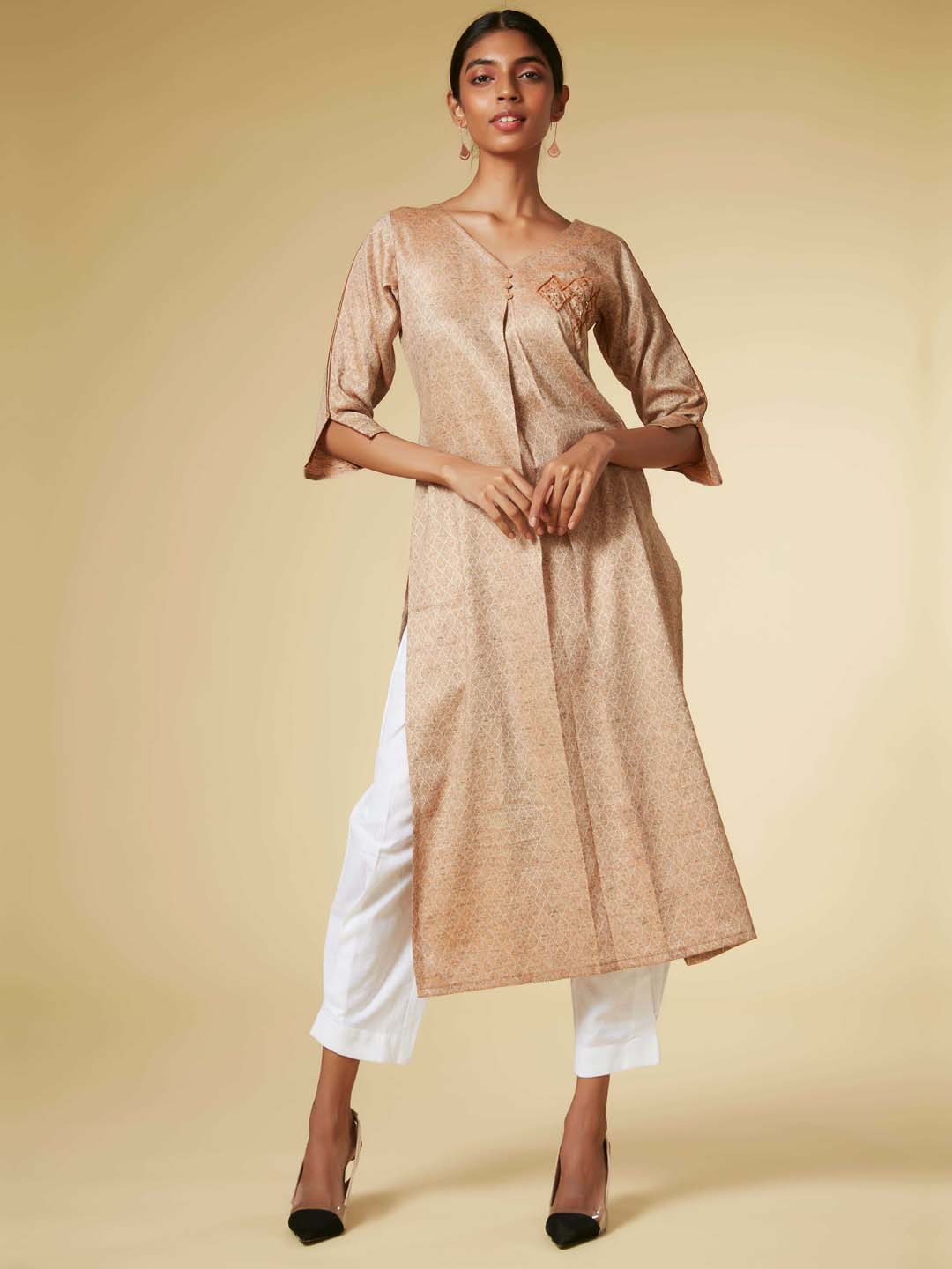 Beige Embroidered Viscose Cotton Straight Kurta Set