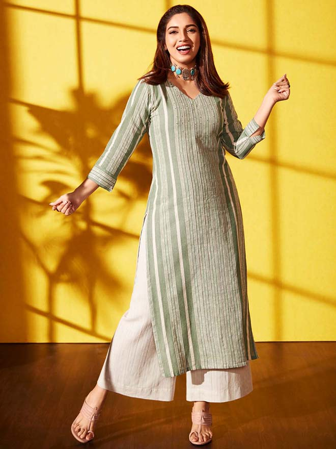 Front side green woven viscose cotton straight kurta palazzo set