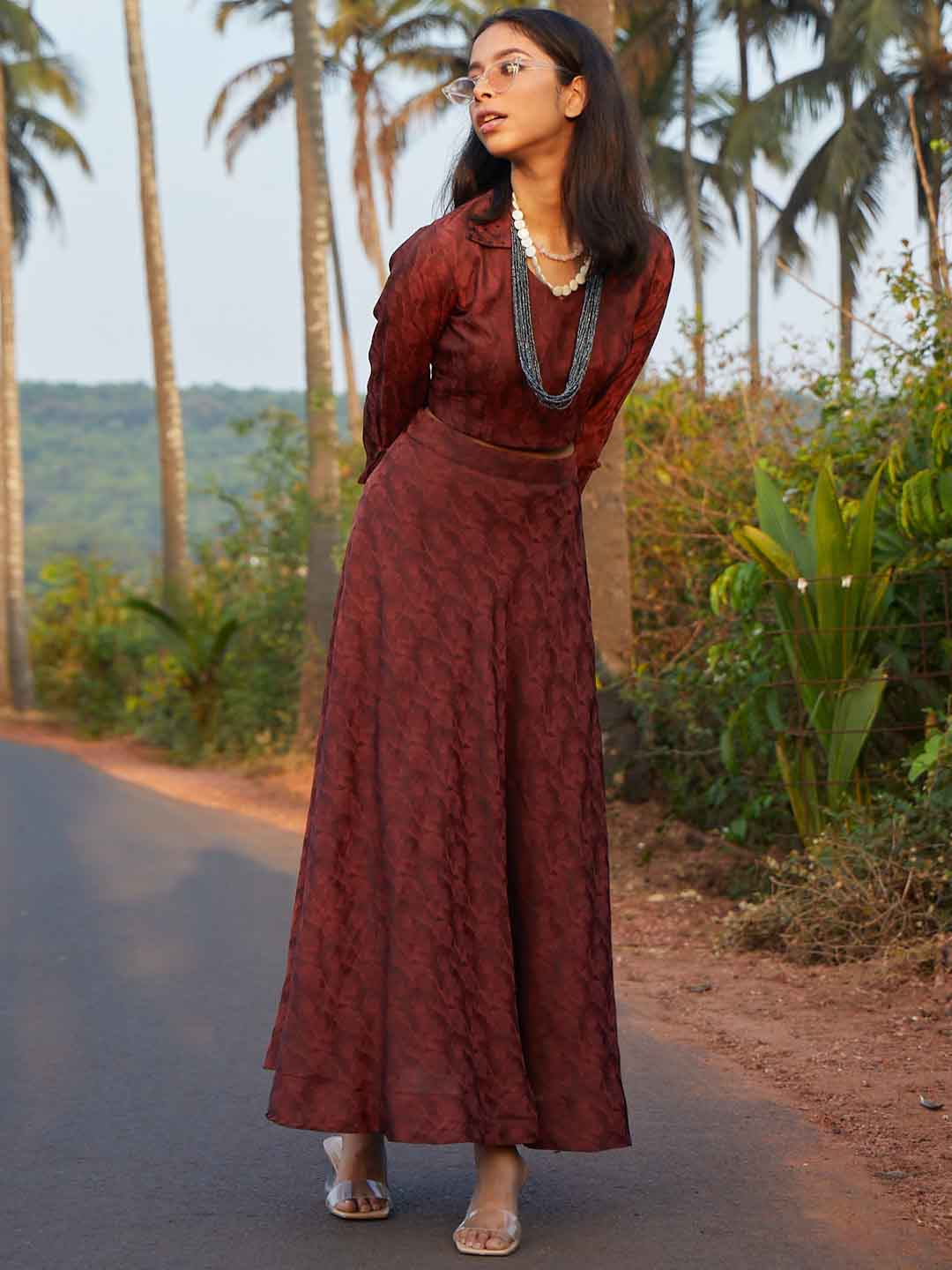 Rust Embroidery Janvi Jacquard Flaired Skirt Top