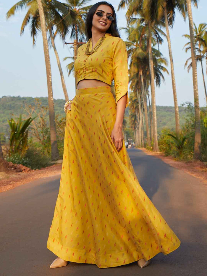 Mustard Woven Fabric Viscous Flaired Skirt Top
