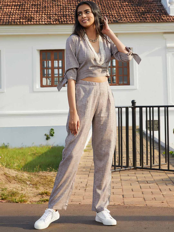 Front Side Grey Woven Straight Crop Top With Pant