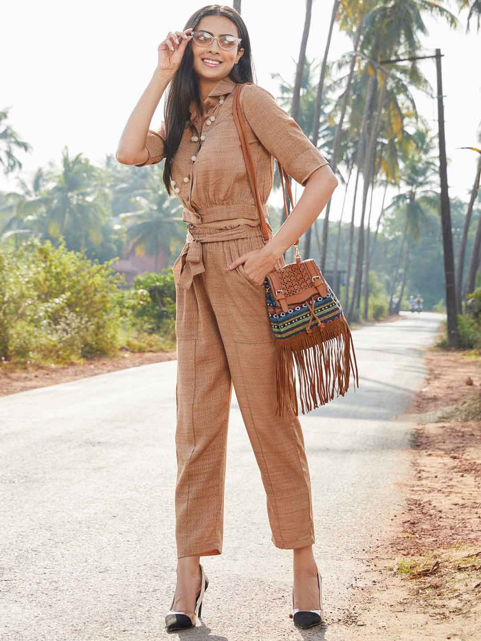Shirt Collar Light Brown Woven Straight Crop Top With Pant
