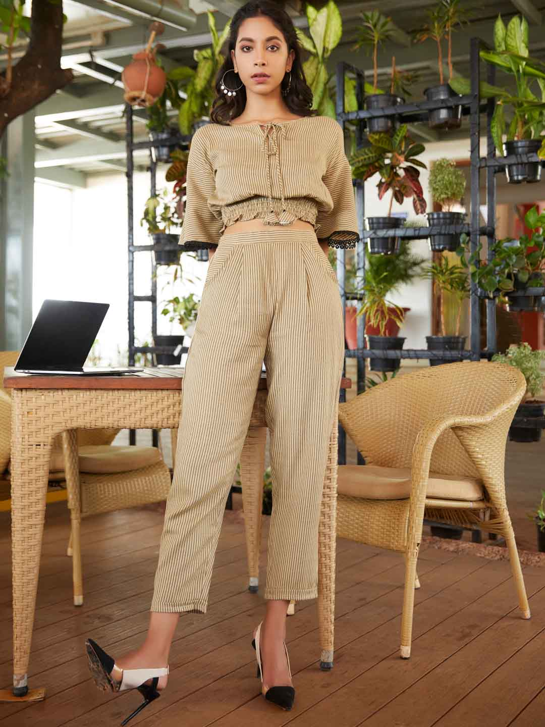 Front Side Beige Woven Straight Crop Top With Pant