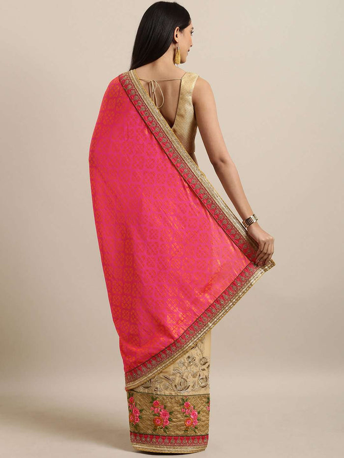 Back Side Pink & Beige Embroidered Silk Saree