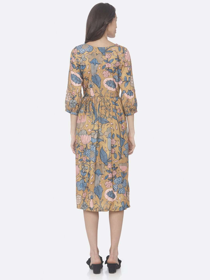 Yellow Printed Rayon A-Line Dress