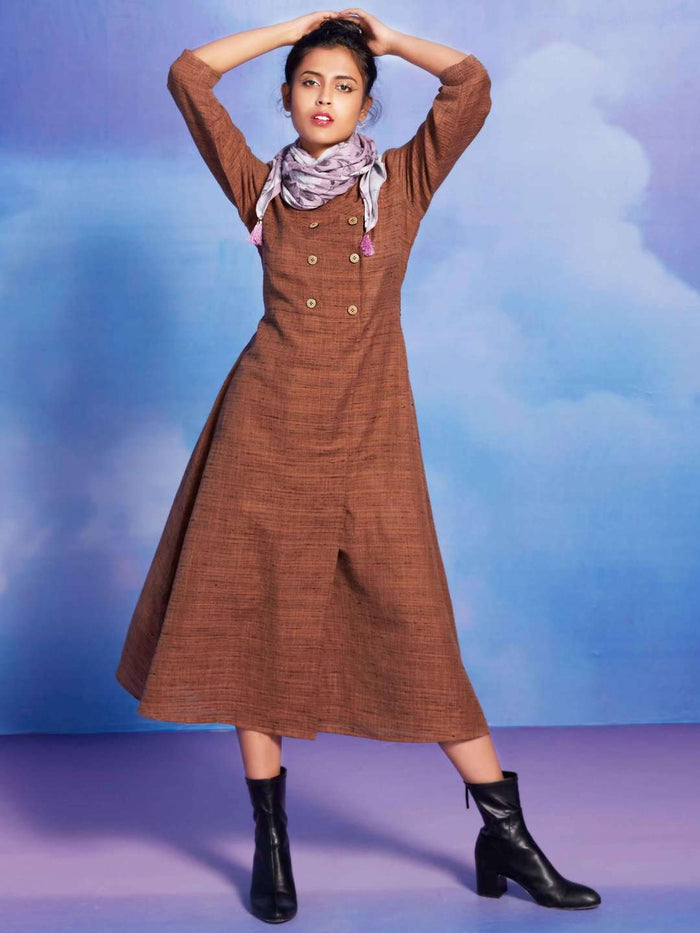 Front Side Sassy Brown Solid Cotton A-Line Dress