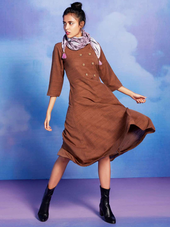 Sassy Brown Solid Cotton Khadi A-Line Dress