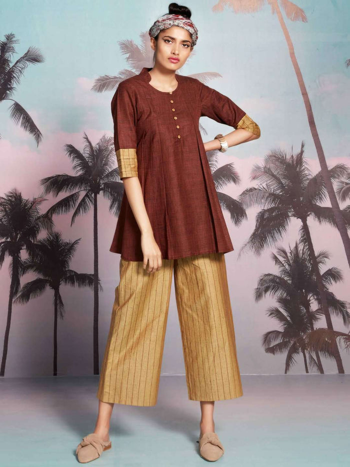 Front Side Nomadic Brown And Yellow Solid Cotton A-Line Tunic Set