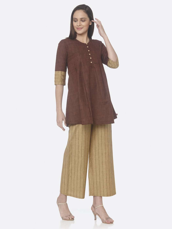 Right Side Nomadic Brown And Yellow Solid Cotton A-Line Tunic Set