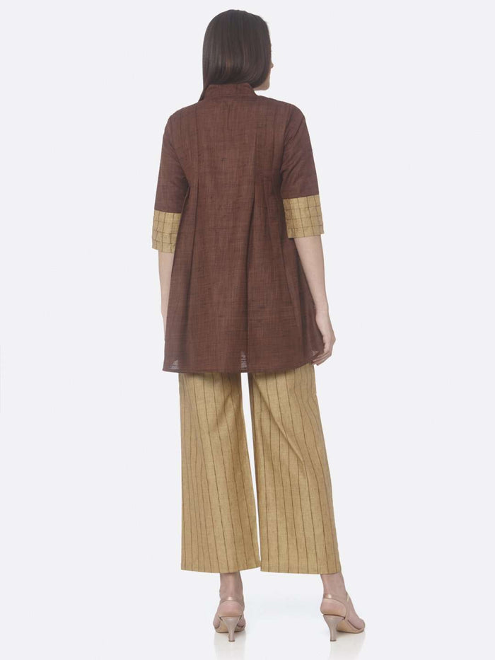 Back Side Nomadic Brown And Yellow Solid Cotton A-Line Tunic Set