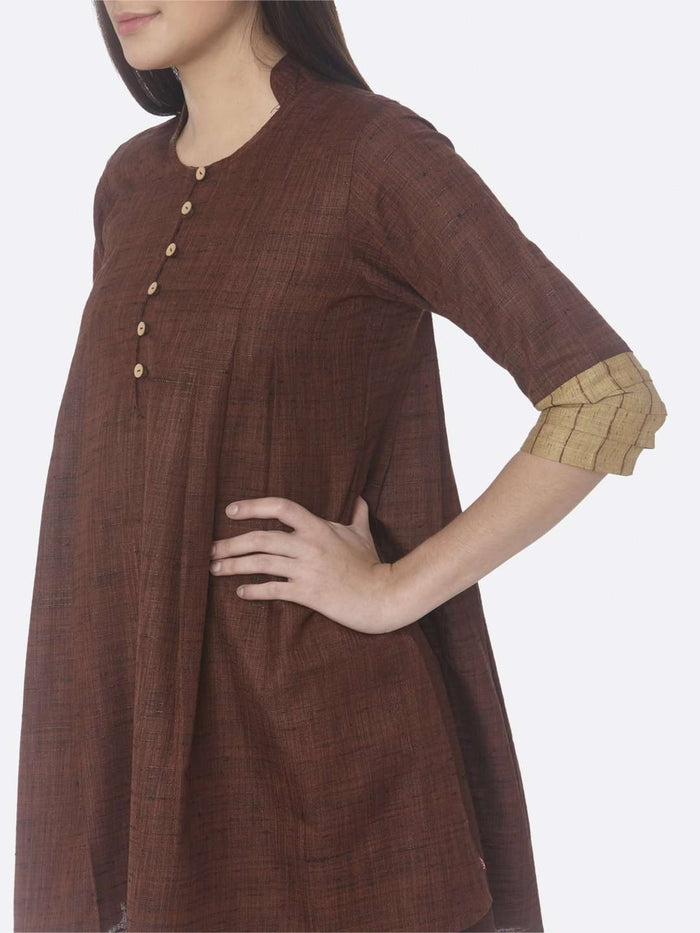 Left Side Solid Cotton A-Line Tunic Set With Nomadic Brown Color