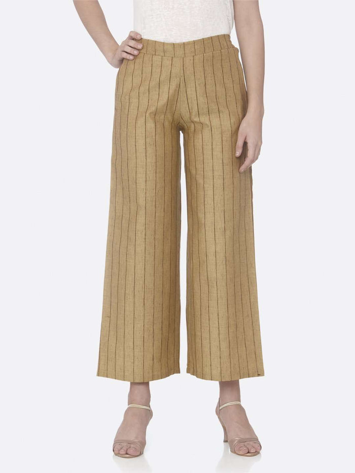 Front Side Yellow Solid Cotton A-Line Pant