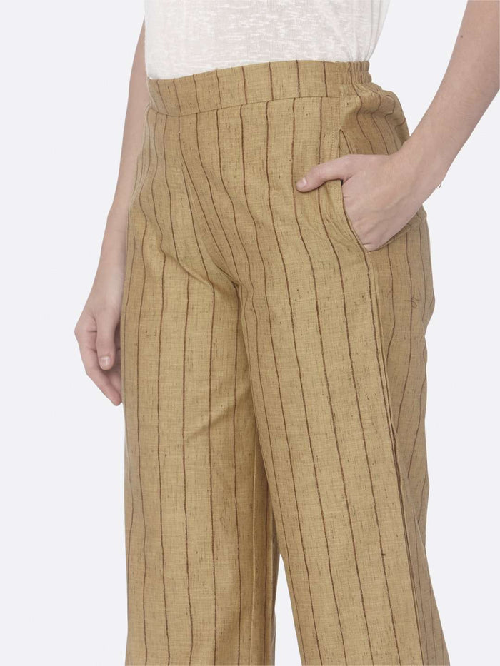 Left Side Yellow Solid Cotton A-Line Pant