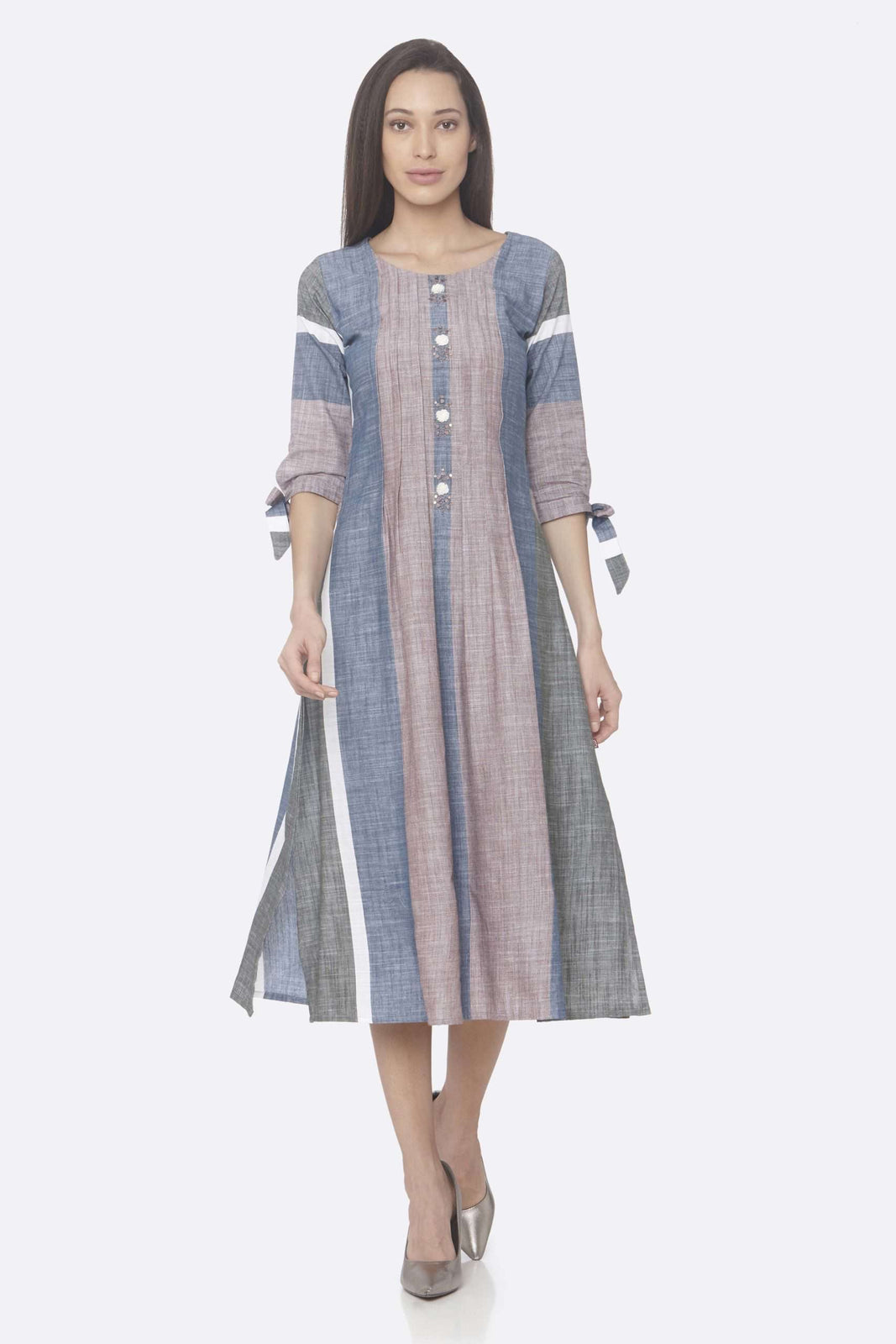 Front Side Light Pink And Blue Solid Handloom Cotton A-Line Dress