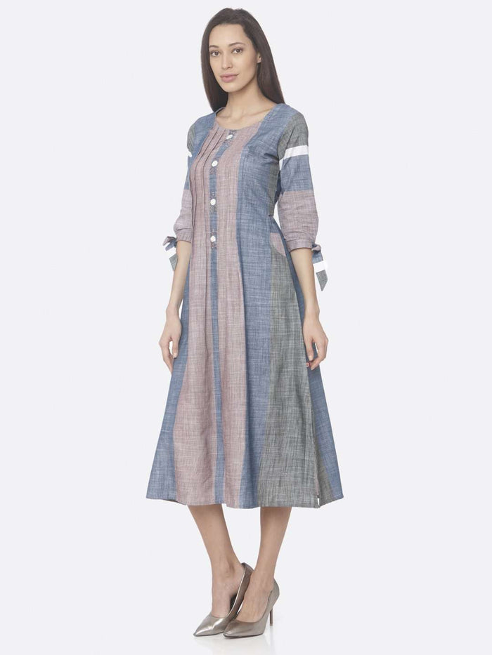 Left Side Light Pink And Blue Solid Handloom Cotton A-Line Dress