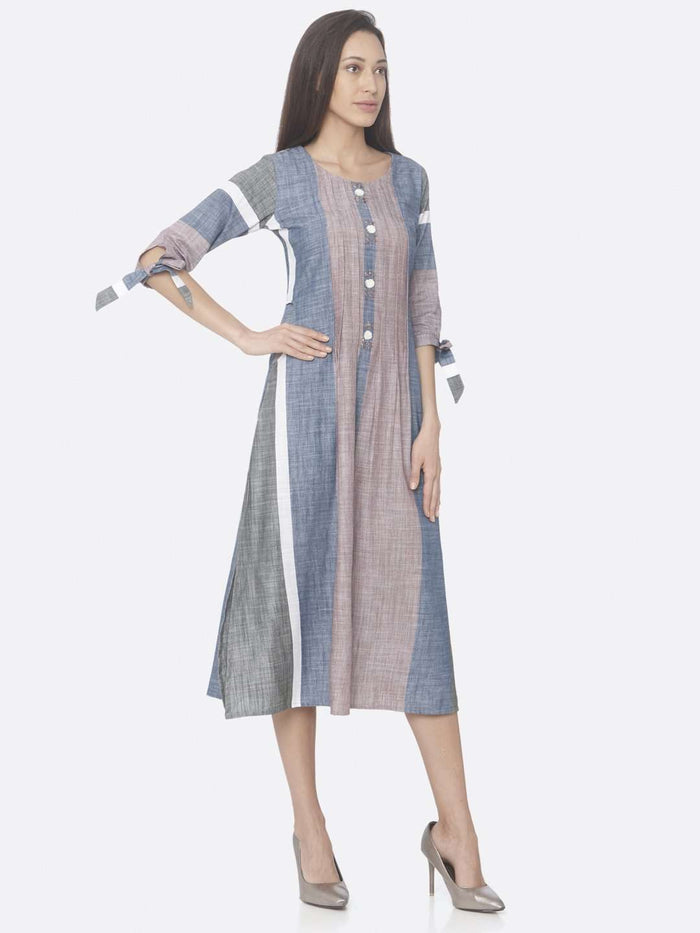 Right Side Light Pink And Blue Solid Handloom Cotton A-Line Dress