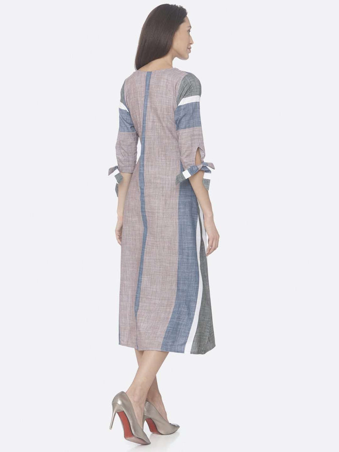 Back Side Light Pink And Blue Solid Handloom Cotton A-Line Dress