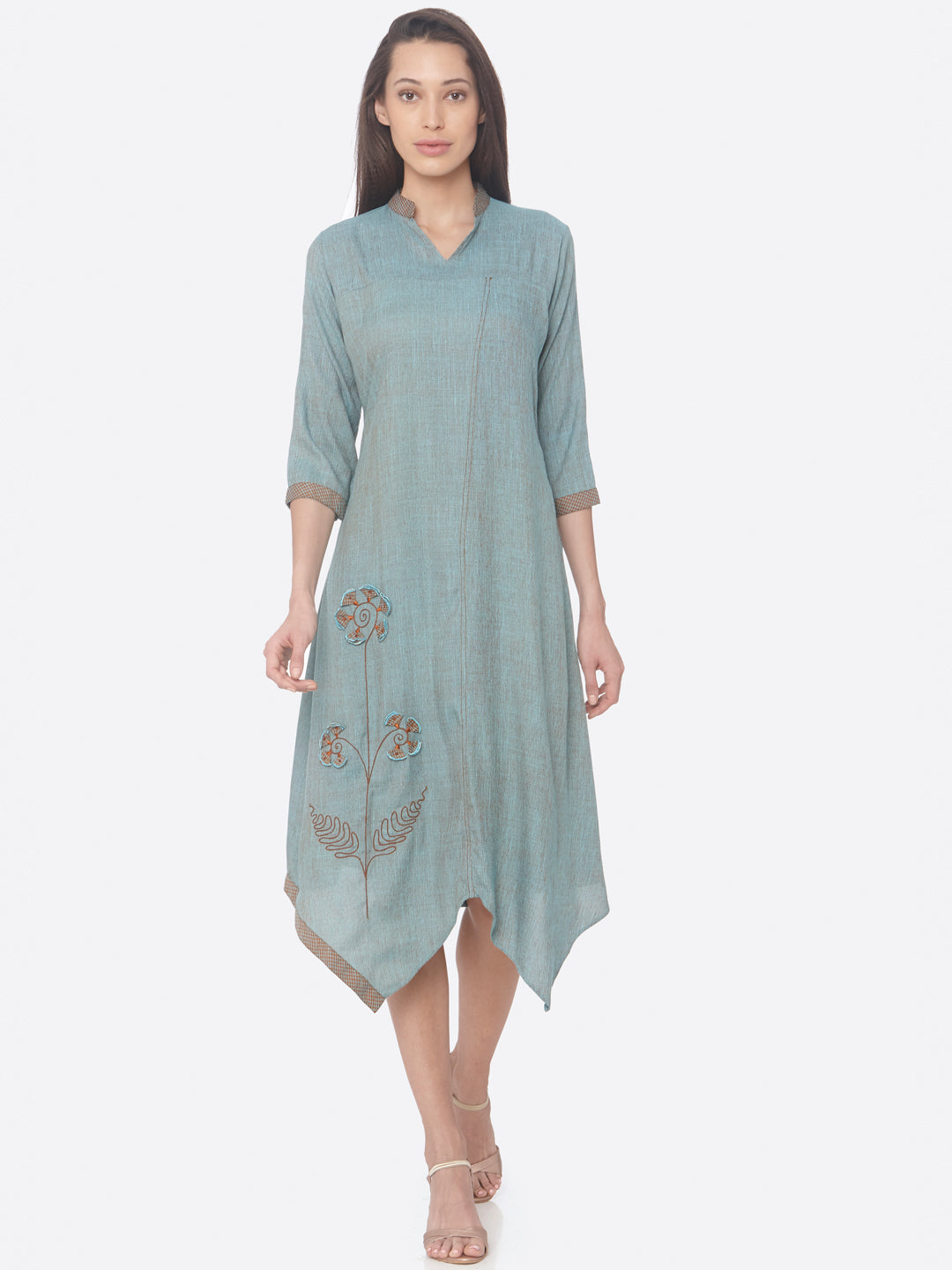 Turquoise Solid Two Tone Rayon A-Line Dress