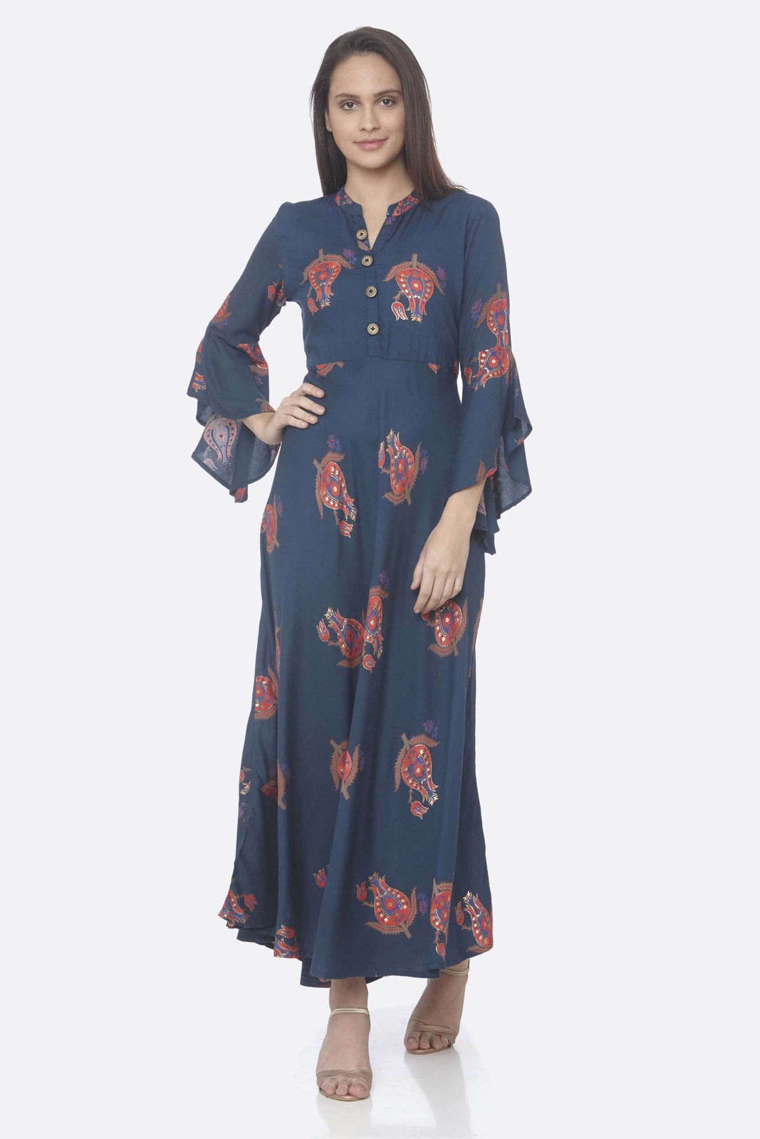Front Side Blue Printed Rayon A-Line Dress