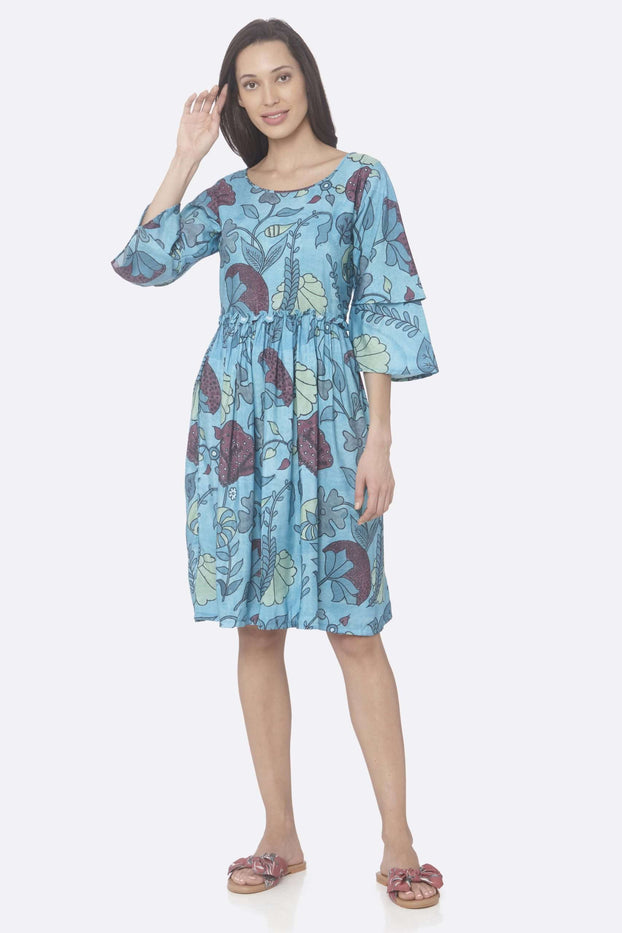 Front Side Turquoise Printed Rayon A-Line Dress