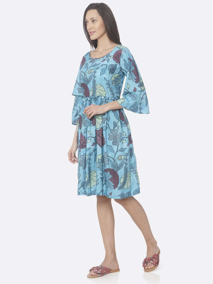 Left Side Turquoise Printed Rayon A-Line Dress