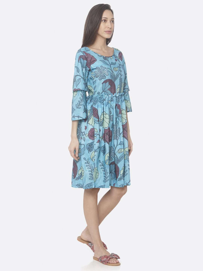 Right Side Turquoise Printed Rayon A-Line Dress