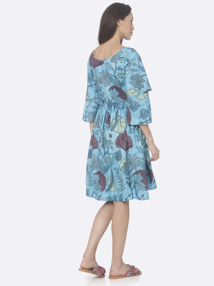 Back Side Turquoise Printed Rayon A-Line Dress