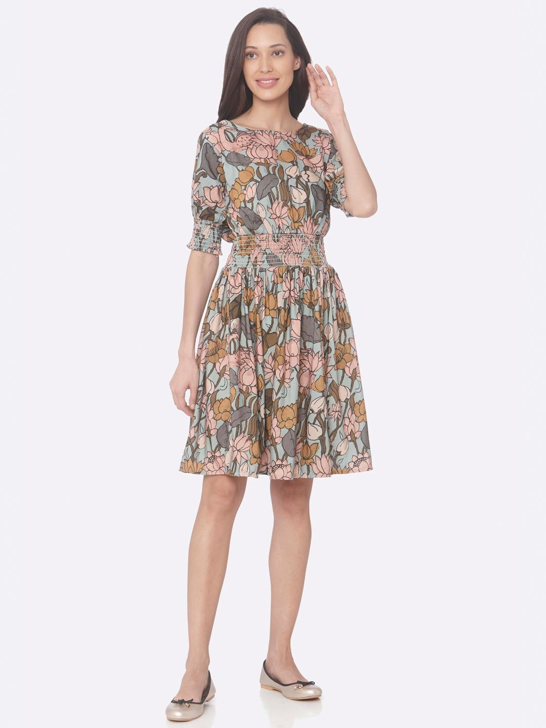 Multi Printed Rayon A-Line Dress