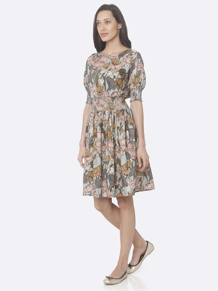 Left Side Multi Printed Rayon A-Line Dress