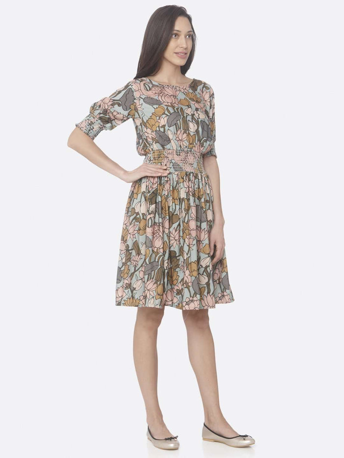 Right Side Multi Printed Rayon A-Line Dress