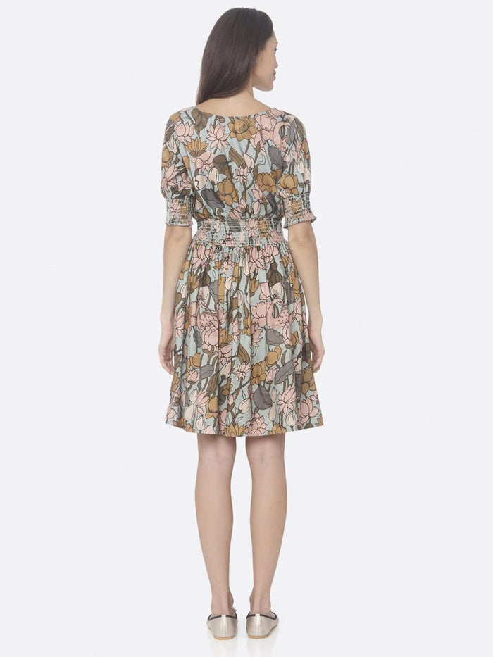 Back Side Multi Printed Rayon A-Line Dress