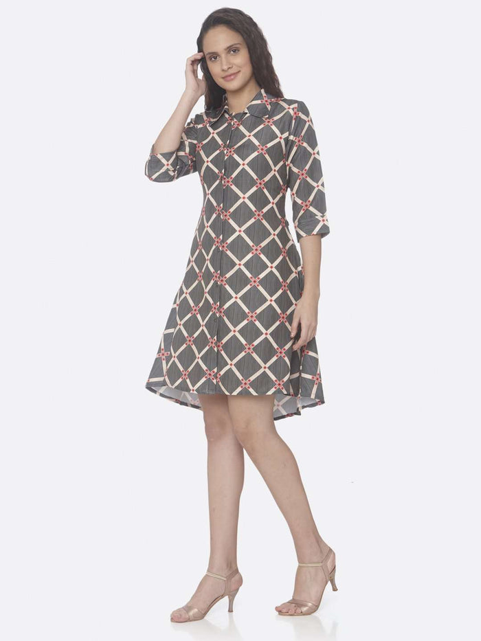 Left Side Grey Printed Rayon A-Line Dress
