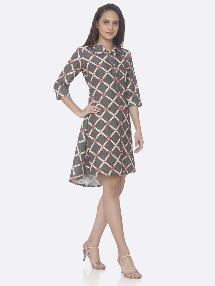 Grey Printed Rayon A-Line Dress