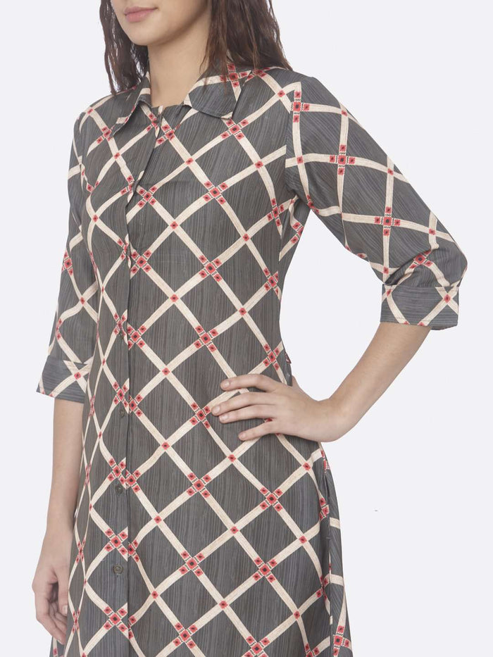 Left Side Printed Rayon A-Line Dress With Grey Color